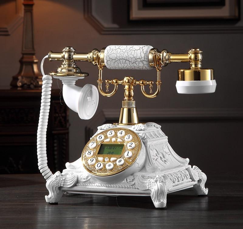 هاتف أرضي قديم مع زر دوار ، مادة راتنج معدنية ، هاتف منزلي ومكتب