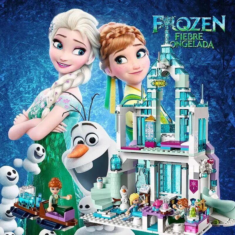 Disney cinderela legoings princesa elsa modelo de construção conjunto bloco sereia ariel castelo compatível tijolo figura crianças brinquedo