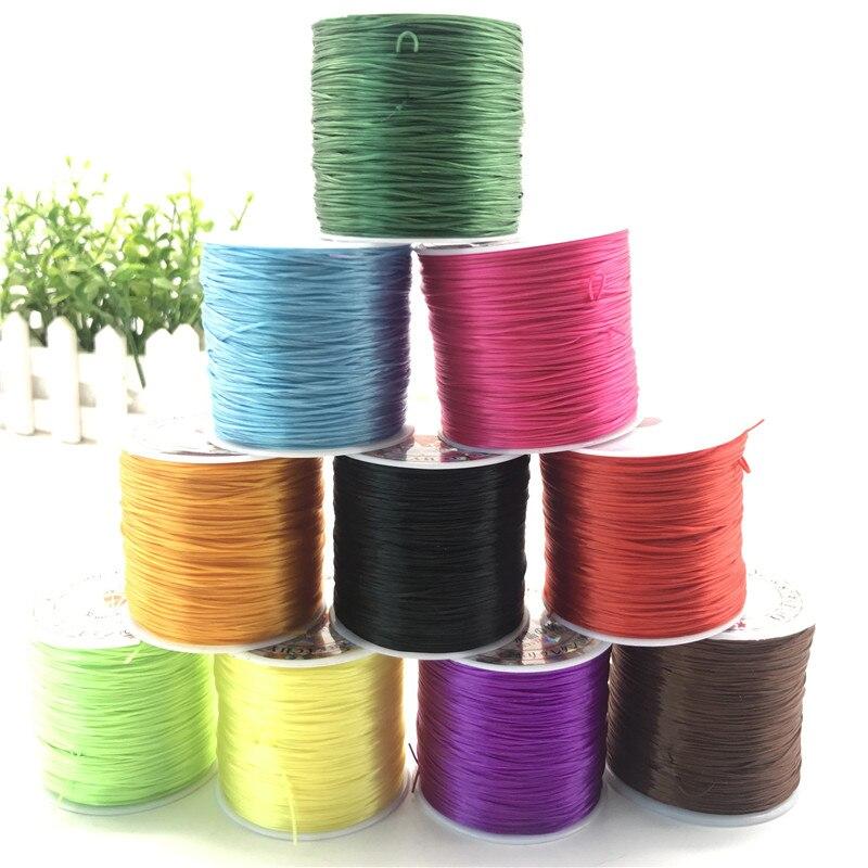 50M/Roll 0,8-1mm Farbe Flexible Elastische Kristall Linie Seil Schnur Für Schmuck Machen Perlen Armband seil