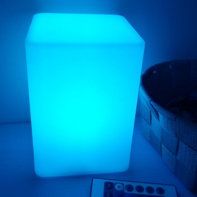 w10 l10 h15cm usb recarregavel 16 cor cuboid led noite lampadas ao ar livre indoor