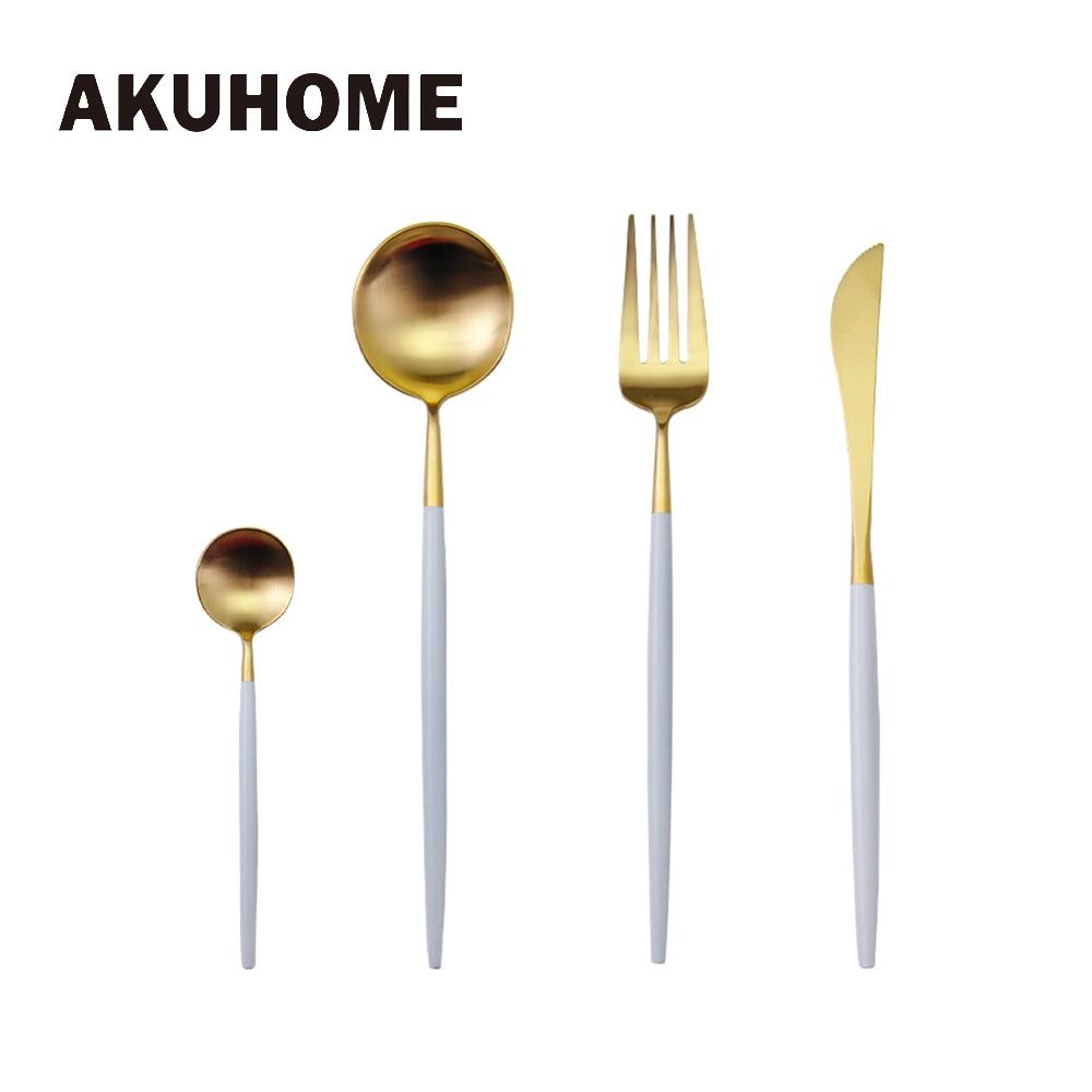 7 Colors Stainless Steel Cutlery Set Noble Fork Knife Dessert Dinnerware Tableware Gold Silver Black Coffee