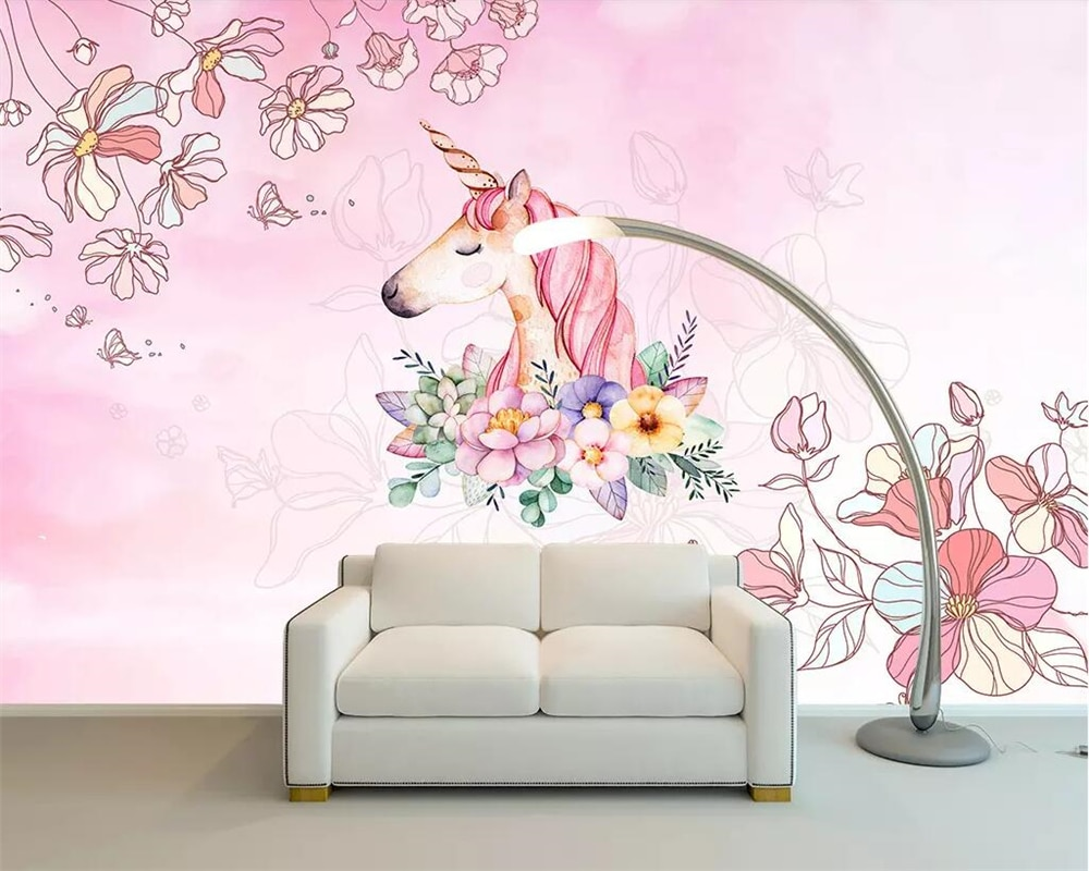 Papel pintado personalizado Beibehang, unicornio de ensueño para niña, Fondo de Sala, pared, sala de estar, dormitorio, decoración del hogar, papel tapiz 3d
