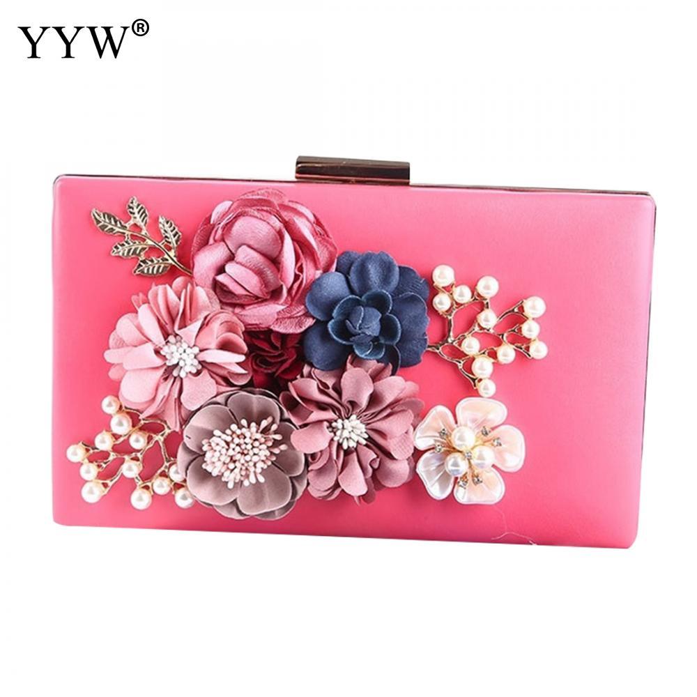 Bolso de mano de flores rosas para mujer, bolsos de lujo, Bolsos De Mujer, bolsos de diseñador, bolsos de novia, bolsos de boda con hombro de perlas de diamantes de imitación