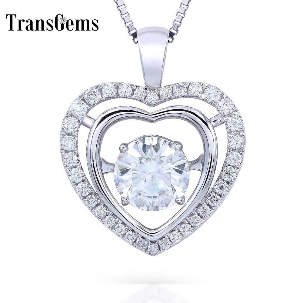 Transgems 14K White Gold 2.3CTW Carat Lab Grown F Moissanite Diamond Slid Pendant Necklace Heart Shaped Wedding Birthday Gift