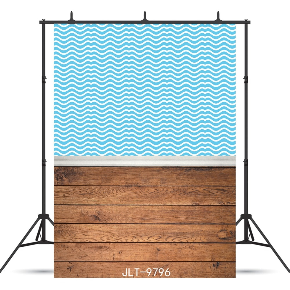 Blue Curtain Wooden Floor Vinyl Photographic Background Customized For Baby Shower New Born Backdrops Photocall Booth Studio