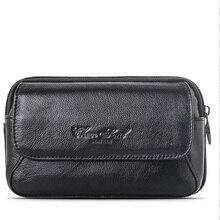 Prawdziwej skóry mężczyzn Mobile 5.5 cal etui na telefon torba Hip torebka na biodro pętle pas portfel portmonetka etui torbeka na talię na co dzień Hot