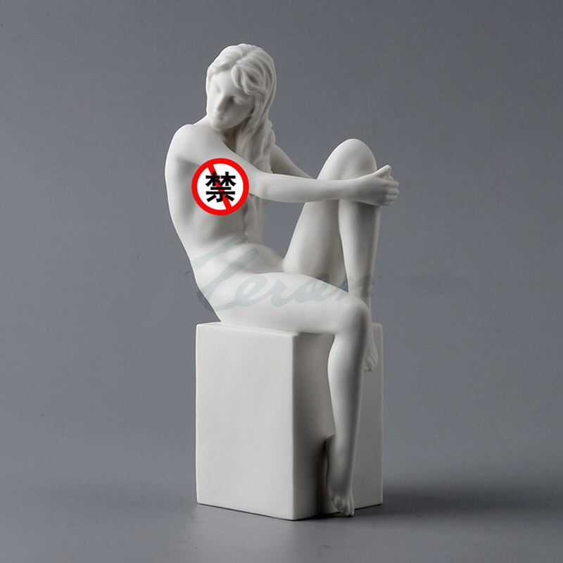 Cerámica europea abstracta Fiery chica figurita desnuda sentado escultura femenina Cuerpo Moderno arte estatua decoración del hogar R1777
