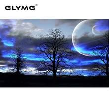 GLymg autocollant mural de décoration   Broderie diamant, décor de nuit, arbre de lune, peinture diamant, point de croix, complet carré, bricolage