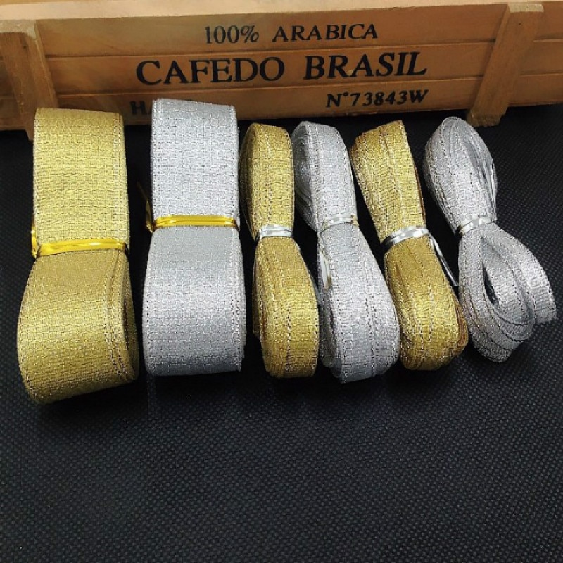 Cinta de satén de seda dorada/plateada de 5 metros, cintas de cebolla bordadas con purpurina de 0,6-2,5 CM para decoración de pastel de regalo de boda, suministros para manualidades