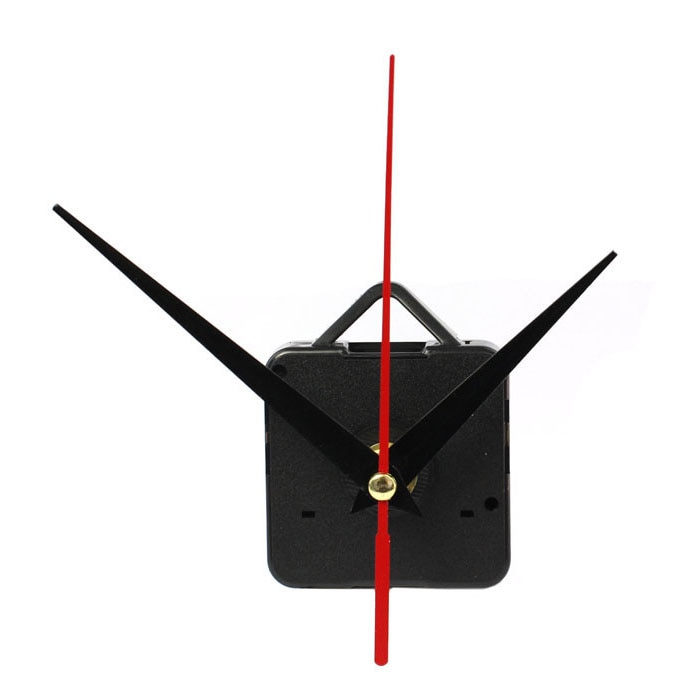 1 juego silencioso pared grande mecanismo de movimiento para reloj de cuarzo negro y manecillas Rojas herramienta de reparación de piezas de Kit de DIY con gancho #20