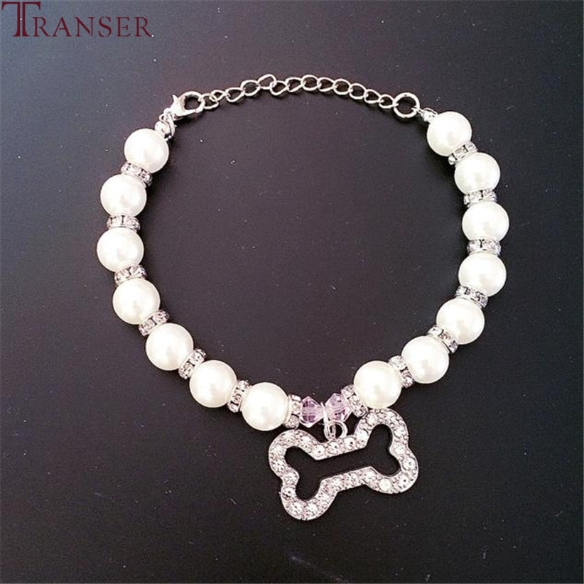 Transer, collar de perlas para perros y mascotas, joyería con colgantes de diamantes de imitación, accesorios de aseo, productos perro mascota 80223