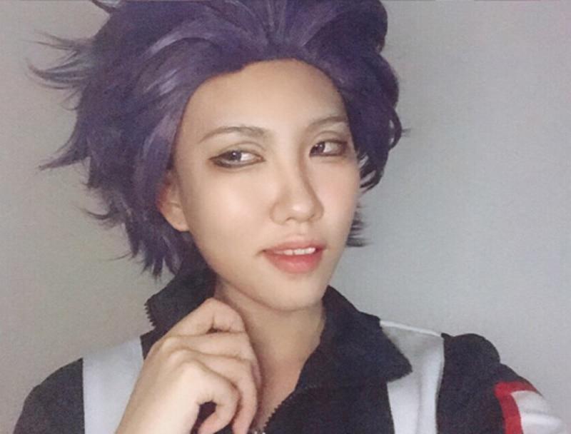 Boku no Hero Academia de alta calidad, peluca Shinsou Hitoshi Shinso, peluca de My Hero Academia de pelo sintético púrpura corto, pelucas de Cosplay