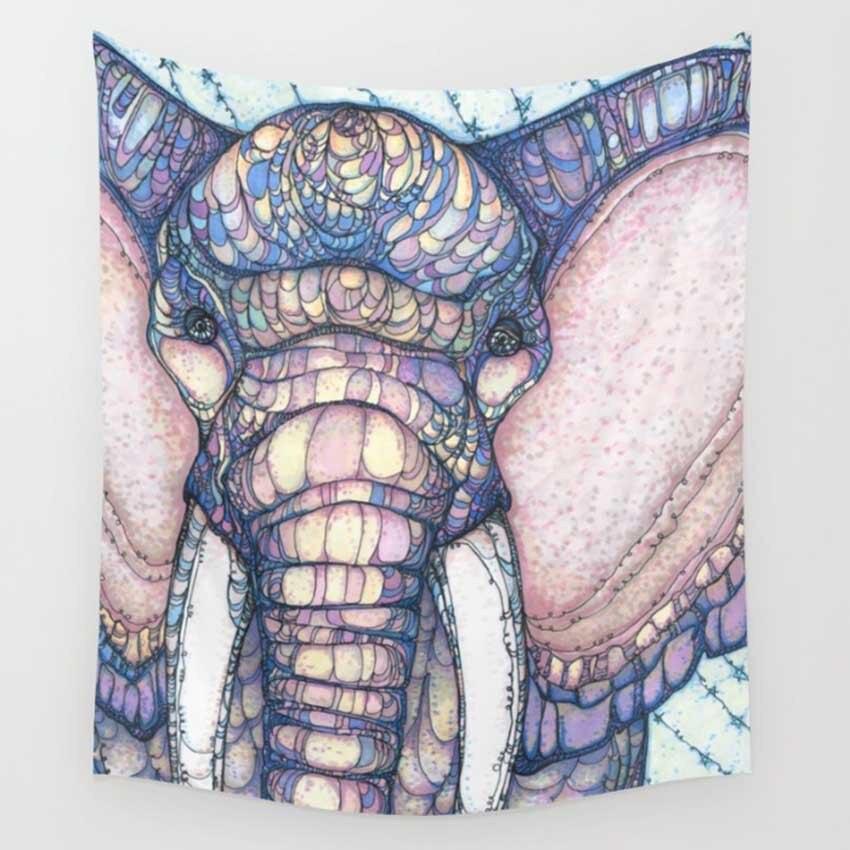 CAMMITEVER, tapiz de tela de elefante bohemio, multifunción, mantel de Mandala, paño de pared, atrapasueños de Cactus geométrico