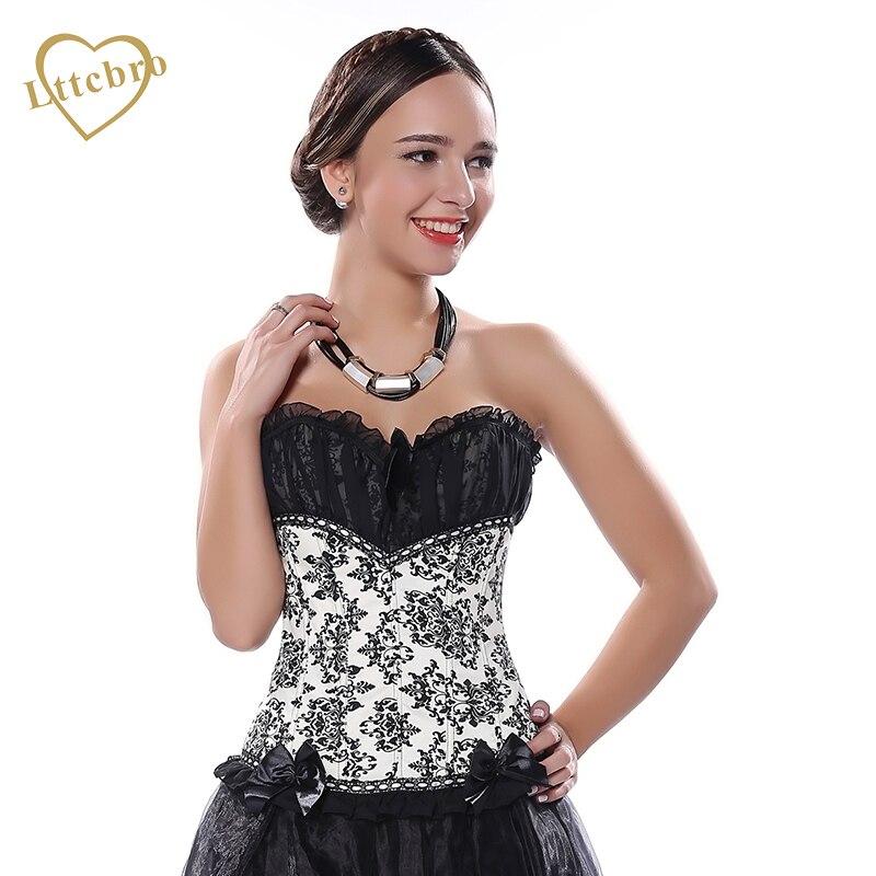 Feminino cetim tule corset bustier topos S-2XL sexy flor impresso corsele overbust preto com padrão branco guarnição do laço espartilho