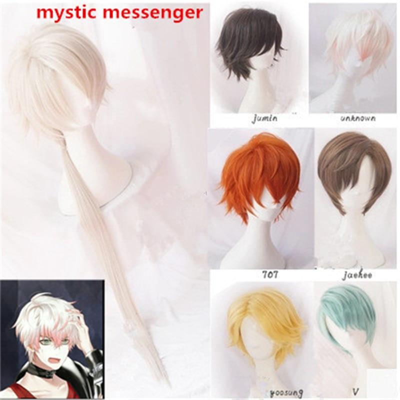Mensajero místico Cosplay Harajuku pelucas de pelo rizado 707 Yoosung Zen V pelo japonés traje Luciel Choi Zen Jumin Han Cosplay peluca