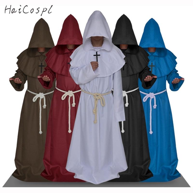 Disfraz Medieval de monje, disfraz de mago con capucha, disfraz de fraile Priest, capucha de iglesia para hombres y adultos, disfraz de Halloween elegante
