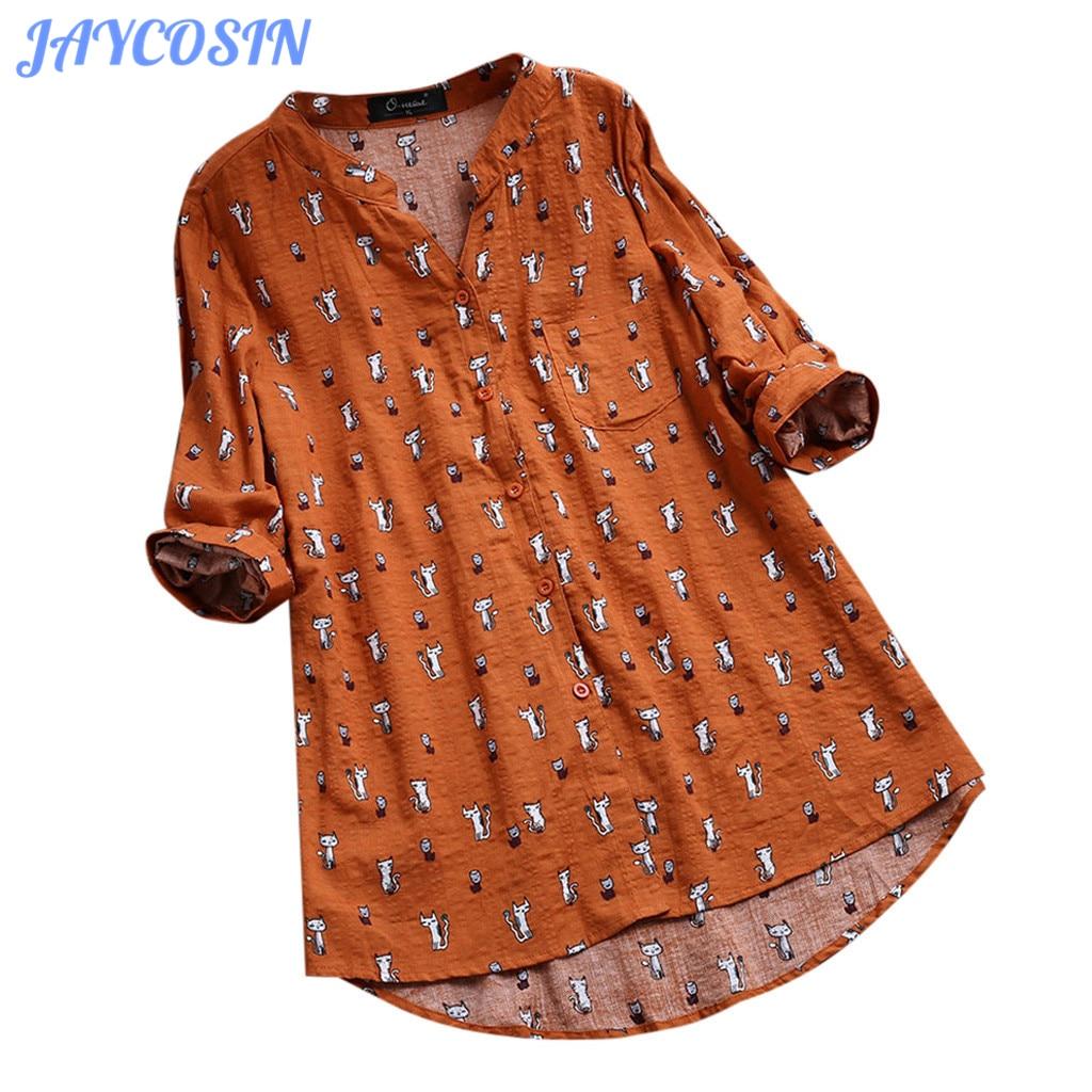 JAYCOSIN 2019 Clothes Women Cute Cat Printed Irregular T-Shirt Women Casual V-Neck Pullover Tops   Et Chemisier Femme 710