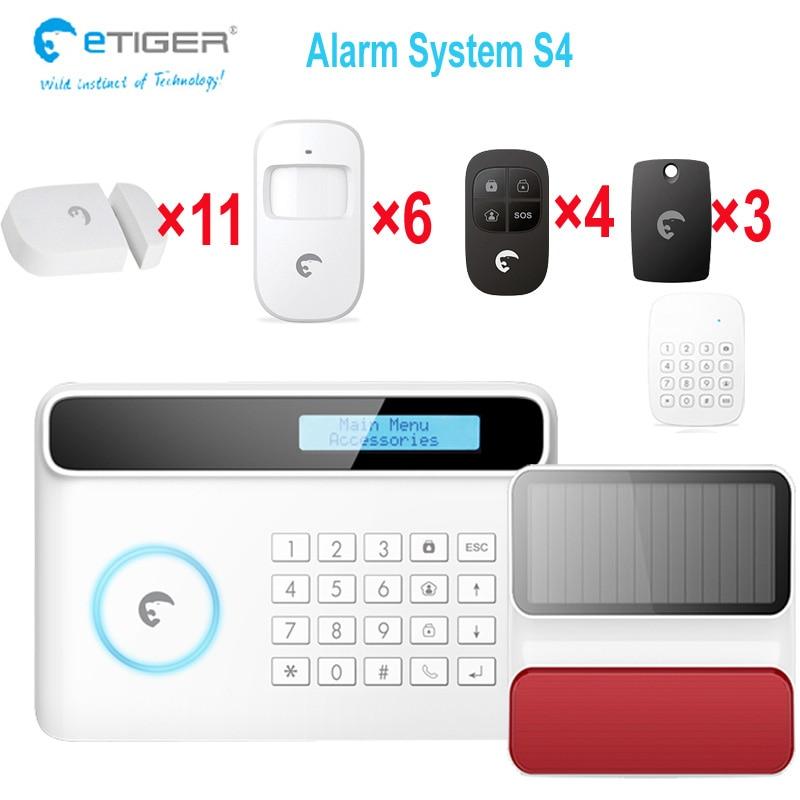 Sistema de alarma PSTN GSM etiger S4 de 433 mhz, interruptor de menú español alemán francés inglés, alarma solar gsm