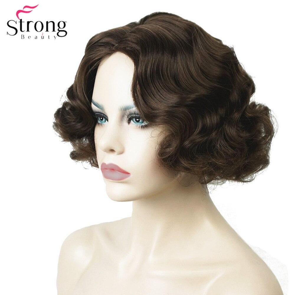 Strongbeauty dedo onda penteados curto preto peruca de cabelo encaracolado sintético