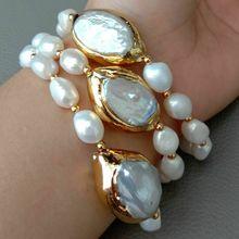 8 3 reihen Kultivierte Weiße Barocke Perle Weiß Keshi Perle Armband