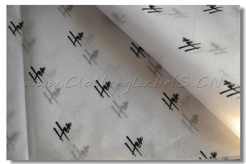 custom tissue paper for clothing, white tissue paper with black logo