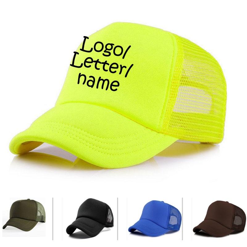 Impresión de vinilo gratis Logo/nombre mujeres caramelo gorras Camo verano transpirable adulto gorra gorros de camionero personalizados Unisex gorra de béisbol fuera