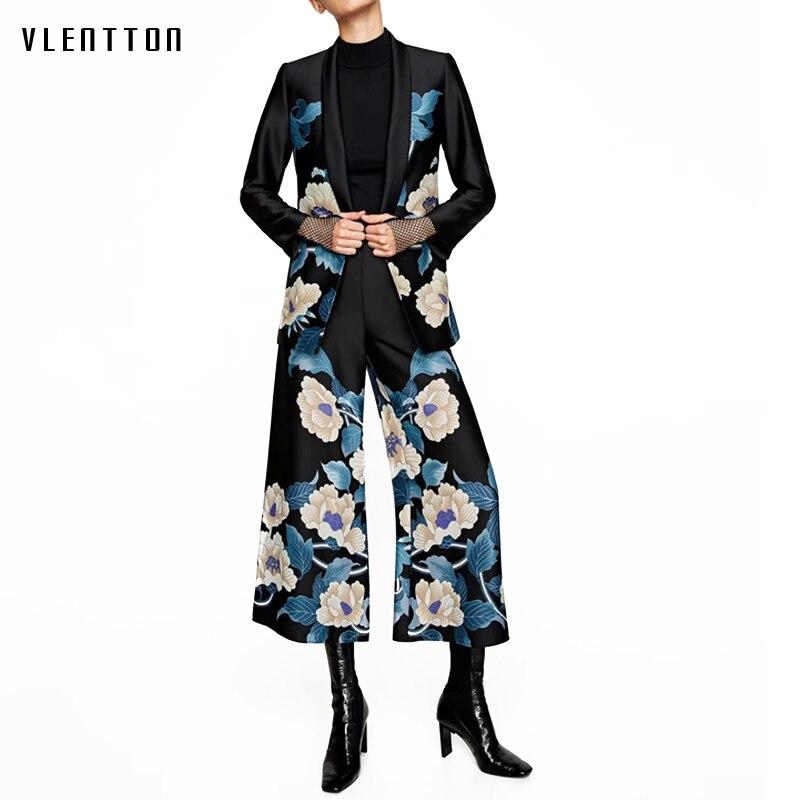 2019 New Flower 2 Piece Set Women Spring Autumn Bohemia Style  Print Office Blazer Jacket Coat And Wide Leg Women's Pant Suit