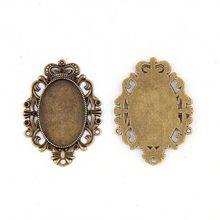 Fit 20x30mm ovale fleur Antique Bronze pendentifs réglage Cabochon camée Base plateau lunette vierge bijoux à bricoler soi-même résultats
