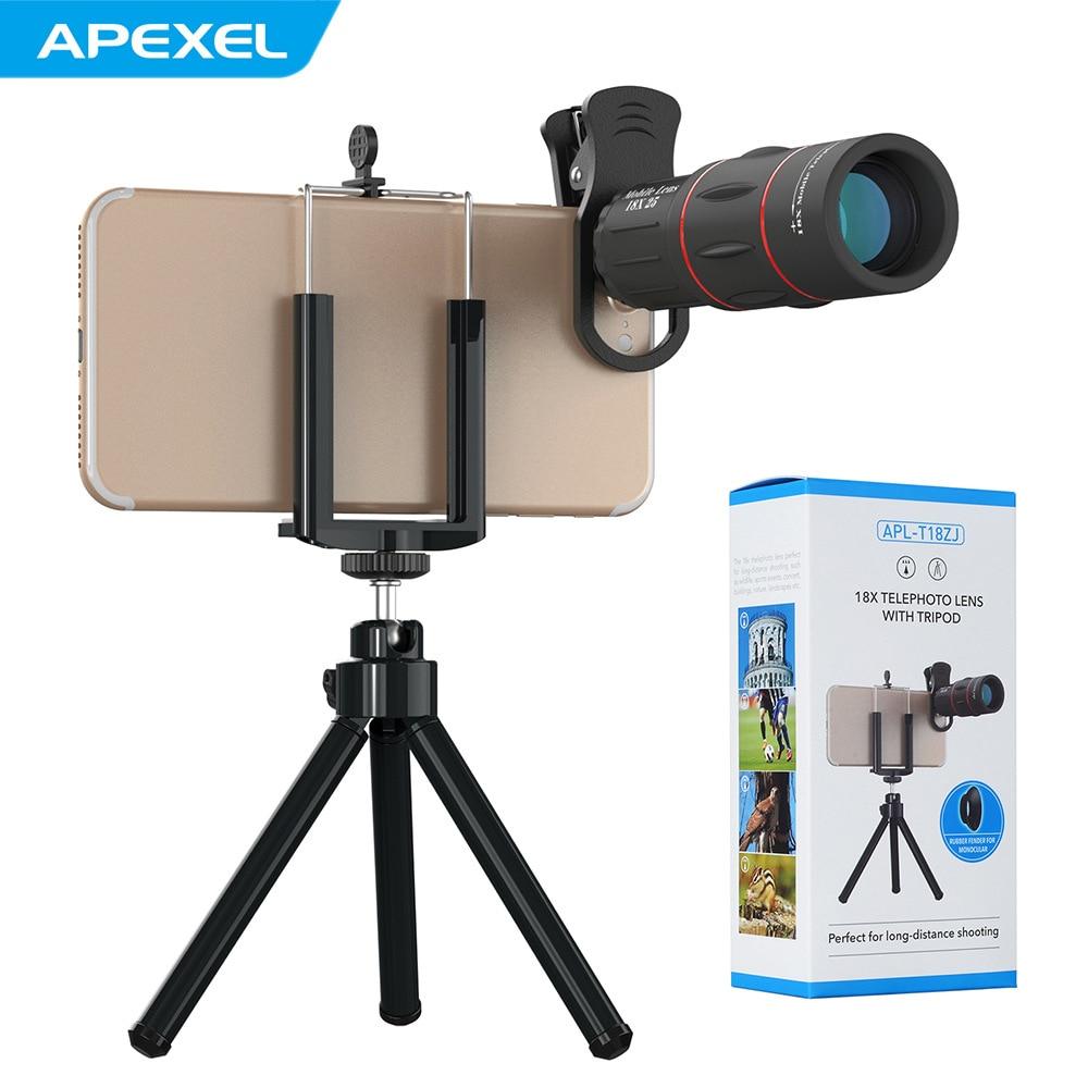 Lente de teléfono móvil APEXEL 18X telescopio con Zoom óptico para iPhone Samsung Xiaomi lente de cámara de teléfono móvil con clip