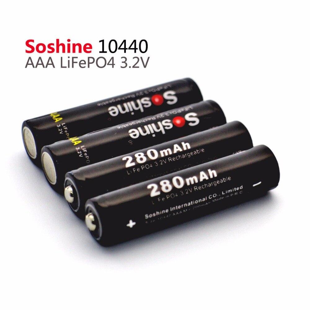 Аккумуляторная батарея Soshine Safe Transport LiFePO4 10440 3,2 в 280 мА · ч, 4 шт., коннектор аккумуляторов