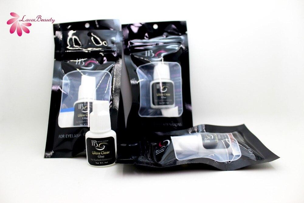 Free Shipping Original 5 Bottles Korea IB Ibeauty Ultra Clear Glue Fast Drying Eyelash Extensions Transparent Glue White Cap 5ml