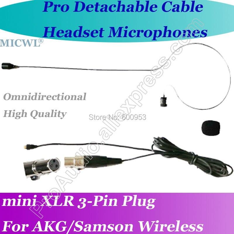 Microfone com fone de ouvido para mini 3 pinos, microfone com microfone, sem fio, para akg samson gemini
