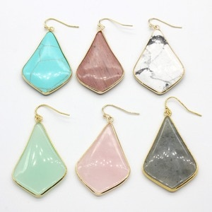100-Unique Light Yellow Gold Color Rose Pink Quartz Green Howlite Stone Rhombus Earrings For Female Labradorite Jewelry