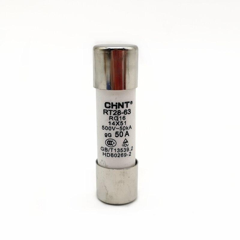 10 unids/lote CHINT RT28-63 (RO16) 4A 6A 10A 16A 20A 25A 32A 40A 50A 63A fusible enlace 14X51 fusible núcleo de fusible