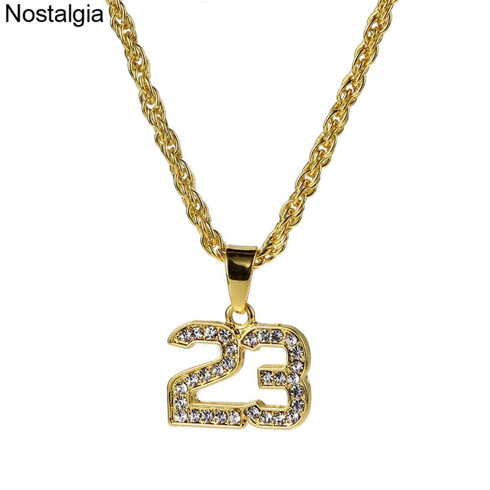 Colgante nostálgico número 23 de cristal, collares con leyenda de baloncesto, superestrella ostentosa, collar ostentoso, cadena larga de oro Sautoir