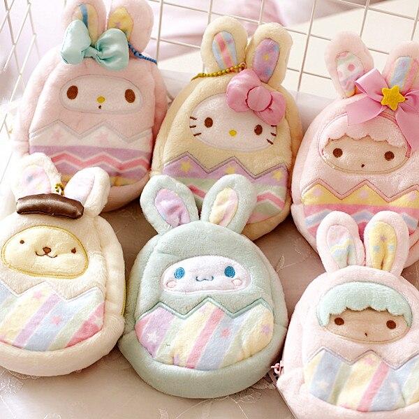 Sanrio Hello Kitty My Melody Cinnamoroll perro pequeño Doble Estrella monedero de felpa lindo Unisex cartera Kawaii llavero para niñas regalos