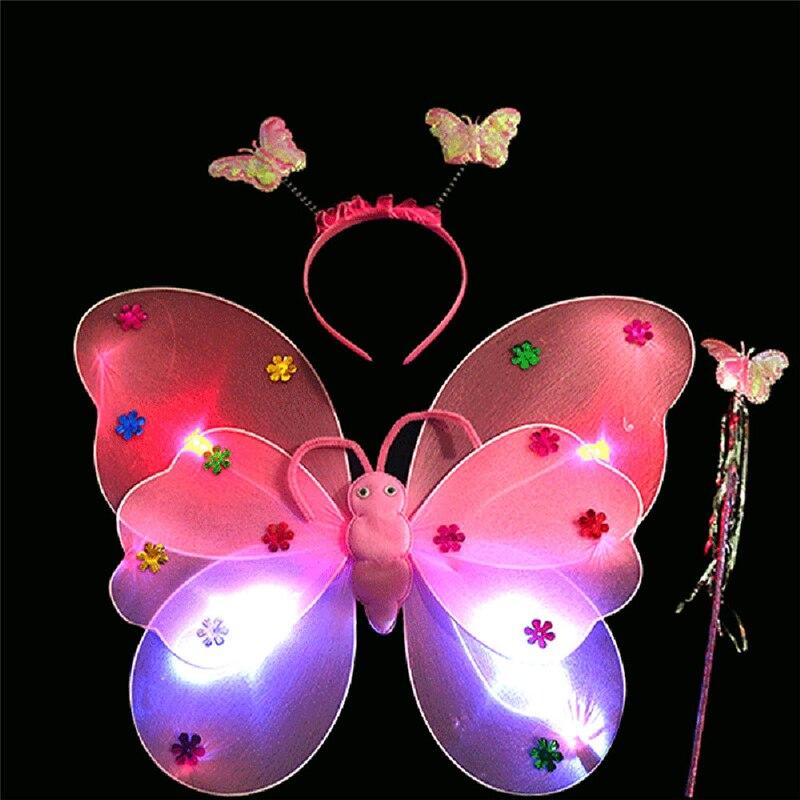Haute qualité 3 pièces/ensemble filles Led clignotant lumière fée papillon aile baguette bandeau Costume jouet grand plaisir pour les enfants jouent 20 #