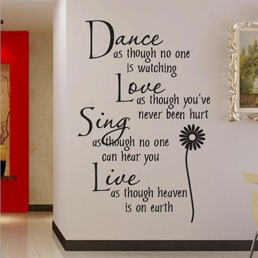 Bailar como si no viese una frase romántica, pegatinas de pared, pegatinas de pvc extraíbles para pared, decoración del hogar, arte de diy de pared para dormitorio