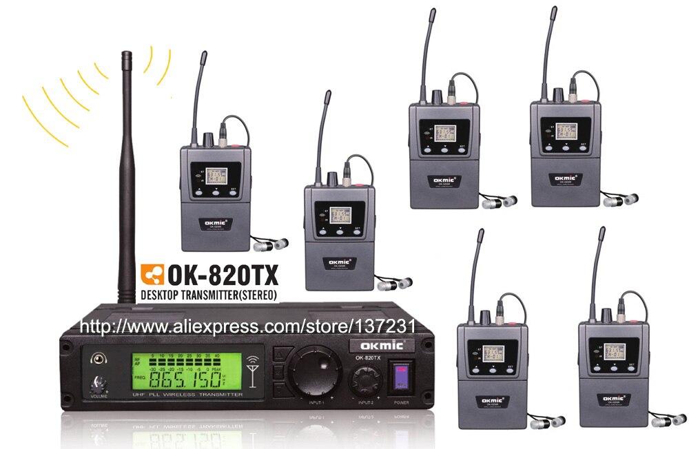 Novo okmic 1 transmissor ok-820TX com 6 receptores ok-5200R receptor estéreo sem fio no sistema do monitor da orelha estéreo fones de ouvido