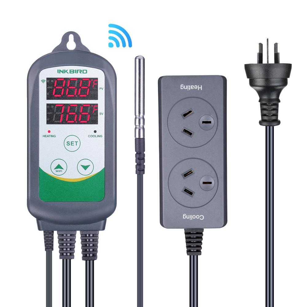 Inkbird ITC-308 WIFI AU enchufe de refrigeración de doble Relé Digital controlador de temperatura termostato termorregulador para habitación caliente