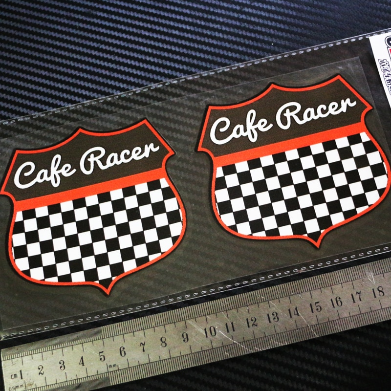Sixsub Кафе RACER Plastificado Adhesivos Negro Rojo motos pegatina автомобили отражательные переводные наклейки водонепроницаемый солнцезащитный крем X2