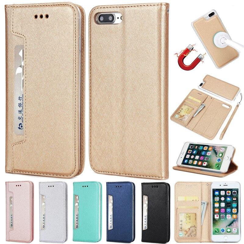 De Lujo billetera de cuero carcasa para iPhone 6 6S 7 7 Plus X Xr Xs Max tapa de la ranura de la tarjeta para Samsung S10 S8 S9 más S10e S7 borde Nota 8 9