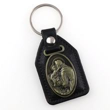 Porte-clés en cuir PU Saint Anthony pendentifs à breloque pour hommes étiquette noire Antique Bronze plaqué crochet porte-clés voiture porte-clés