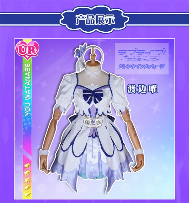 Love live sunshine Version de théâtre plus lumineux Watanabe vous habillez tous les membres robe mélodie blanc bleu Cosplay Costume