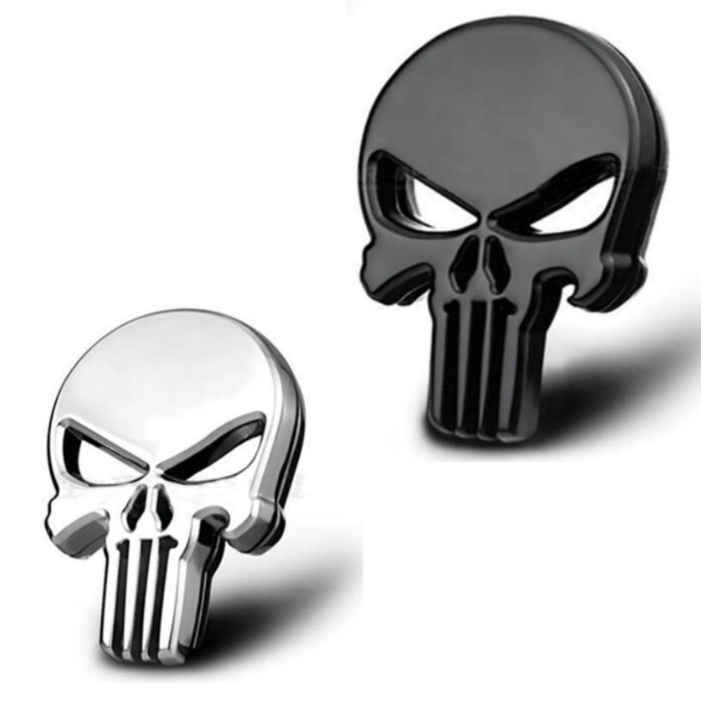 Insignia de Metal 3D del emblema de la carrocería de motocicleta del coche del cráneo del Punisher decoración de moda accesorios de estilo de coche