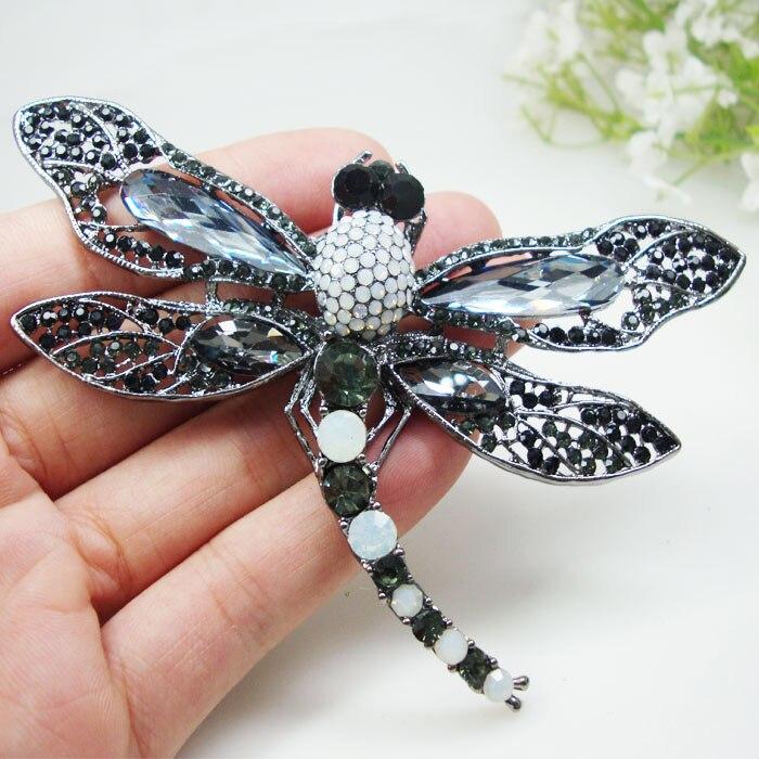 Broche Vintage de pájaro libélula negra, colgante de alfiler, accesorios de cristal de estrás