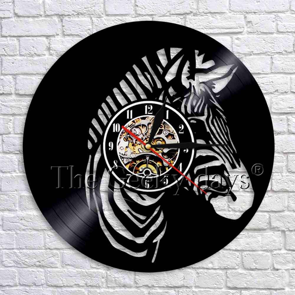 Зебра силуэт тень виниловая запись настенные часы современный дизайн 3D настенные часы дикие животные настенные декоративные часы для детс...