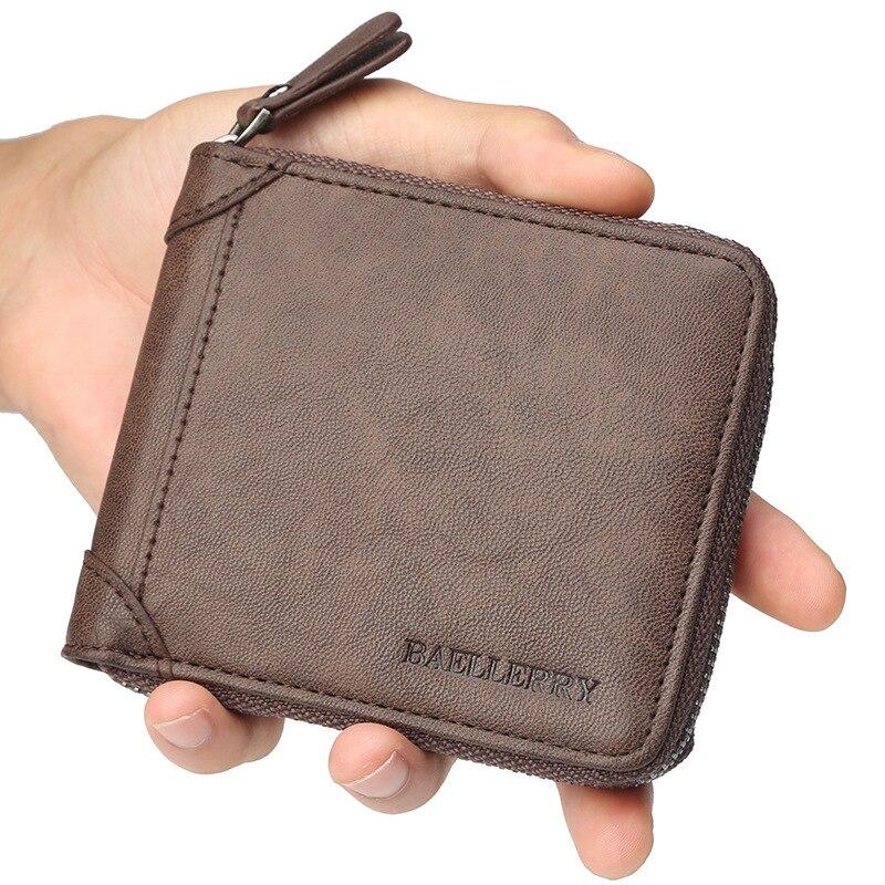 Мужской кожаный кошелек, деловой ID держатель для карт, бумажник на молнии, кошелек, сумочка, клатч, фирменная Новинка, кофейный держатель для монет, мужской кошелек