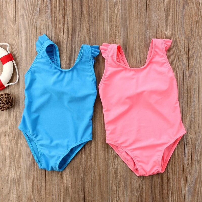 Sweet Newborn Baby Girls Swimsuit Kids Girls One-piece Swimwear Pure Blue Pink Bathing Suit 2018 Summer Back Bowknot Beachwear