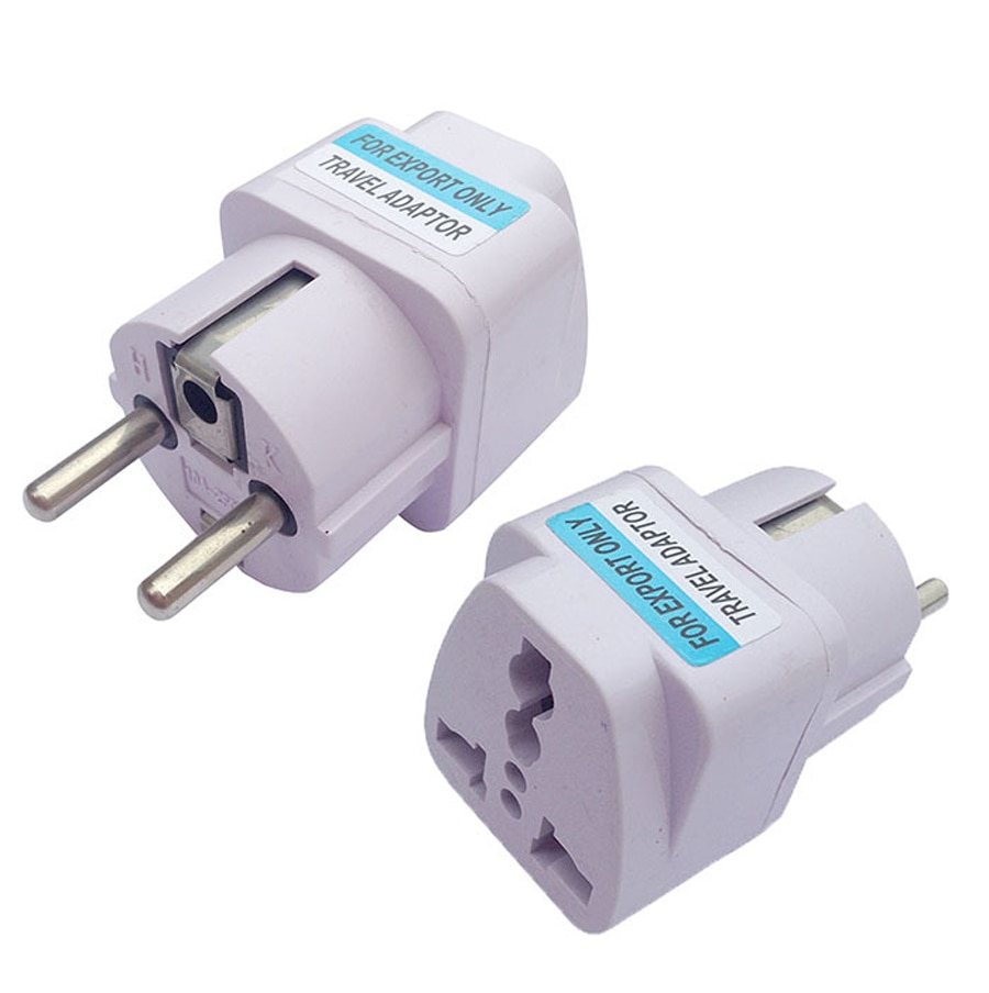 Купить с кэшбэком xintylink 2pcs two round pin plug power socket Power outlet converters adapter plugs use in the Germany France Russia